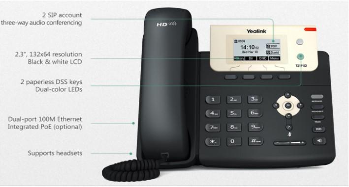 Điện thoại IP yealink sip-T21-E2 với 2 tài khoản sip