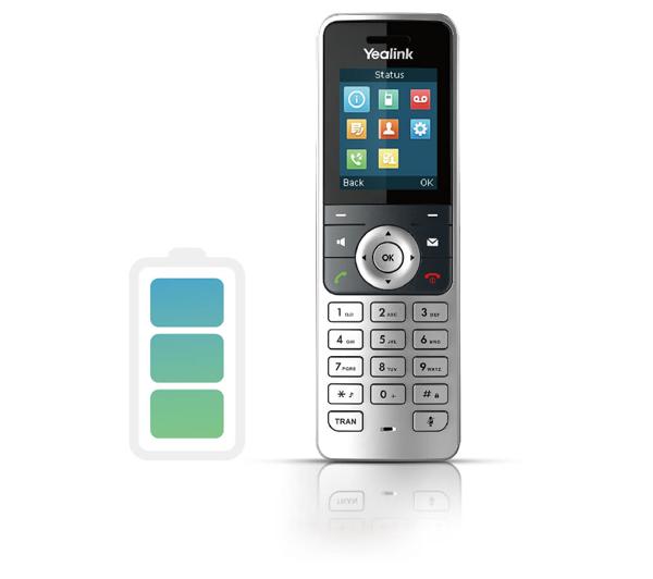 yealink w53P được trang bị pin ấn tượng với 18h đàm thoại