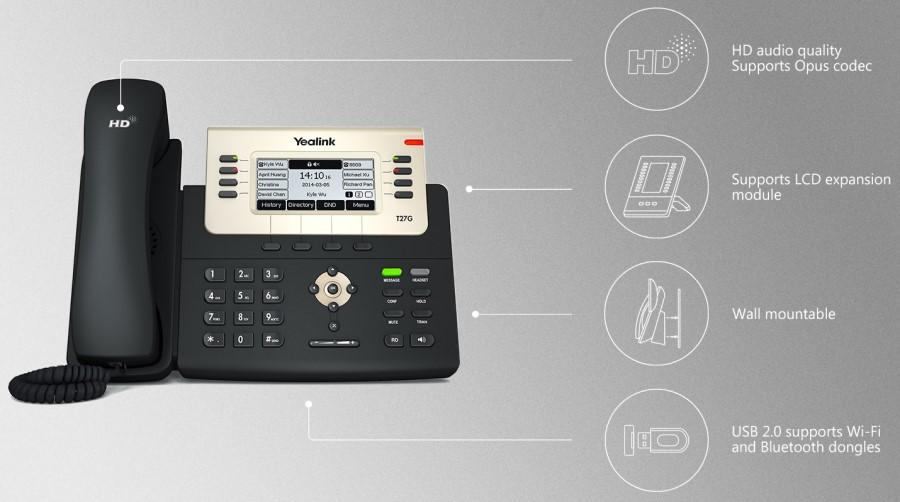 Điện thoại IP yealink T27G sử dụng cho bộ phận tiếp tân