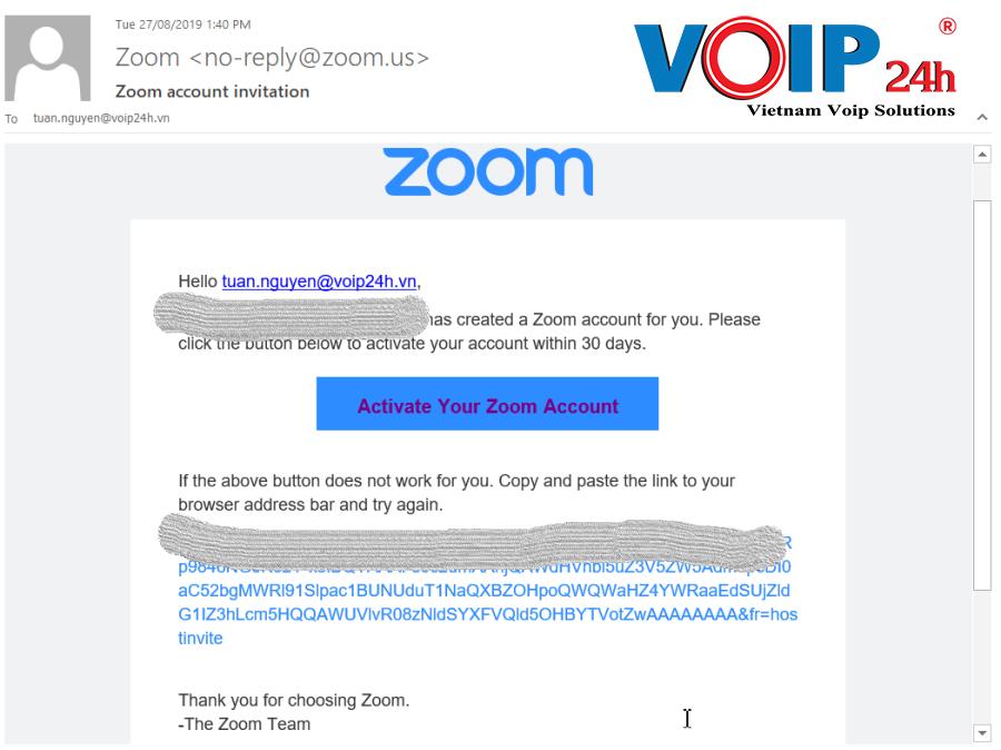 Kích Hoạt Zoom Meeting Từ Email gửi về