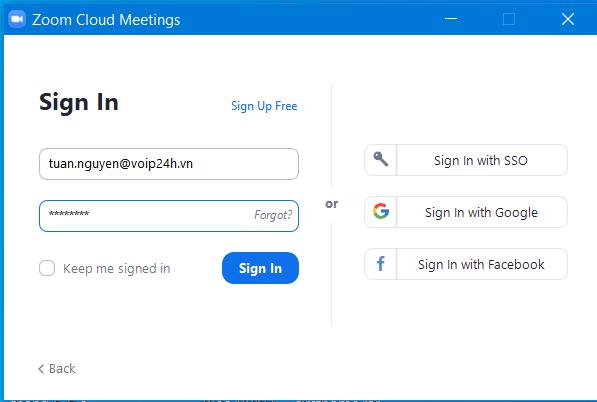 Đăng nhập tài khoản zoom Meeting