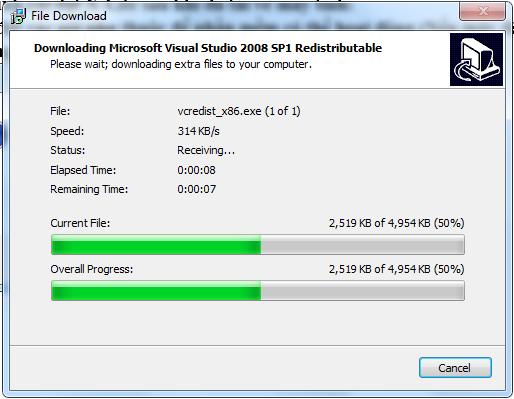 Đang down các gói phụ thuộc của phần mềm.