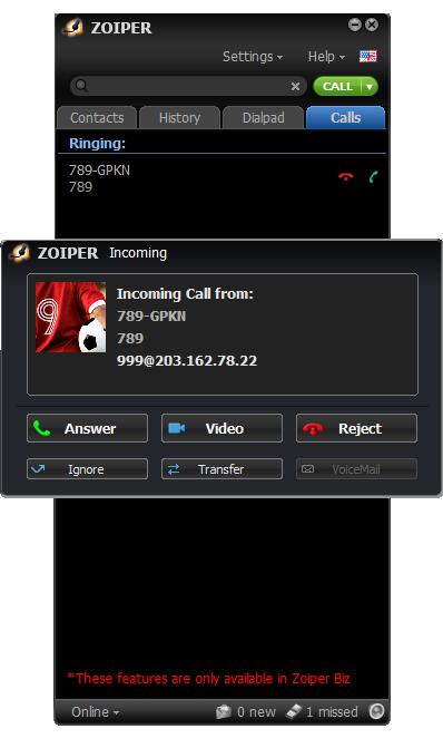 Cuộc gọi vào trên Zoiper