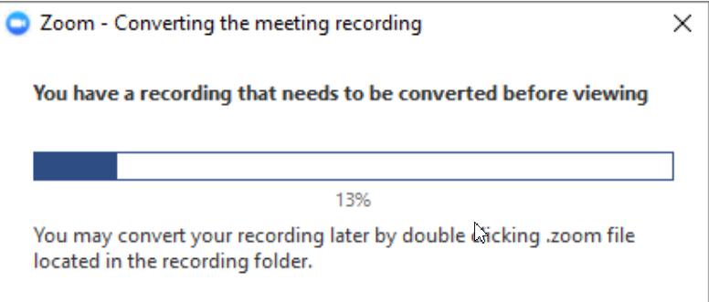 Thông báo file ghi âm cuộc gọi Zoom meeting
