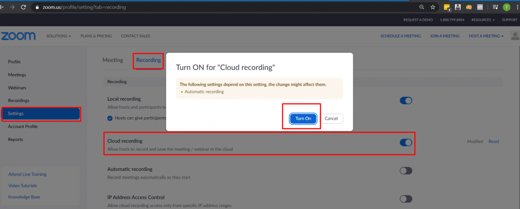 Bật tính năng ghi âm cuộc họp Zoom meeting trên cluod của Zoom
