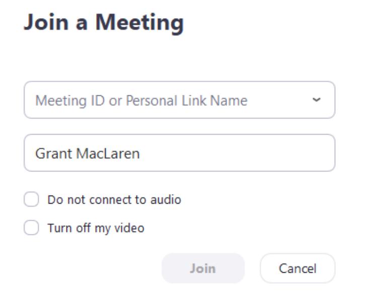 Nhập ID hoặc URL cuộc họp vào để bắt đầu tham gia