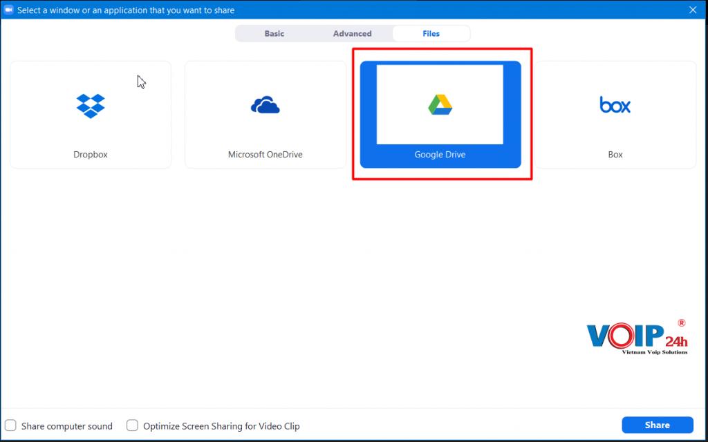 Chọn tiếp ở tab File chọn tiếp thư viện file chia sẽ Zoom hỗ trợ