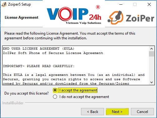 Check vào I accept the agreement . Sau đó chọn Next để tiếp tục