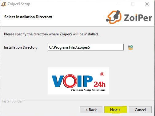 Chọn Next để mặc định hoặc chọn để thay đổi đường dẫn chứa cài đặt Zoiper