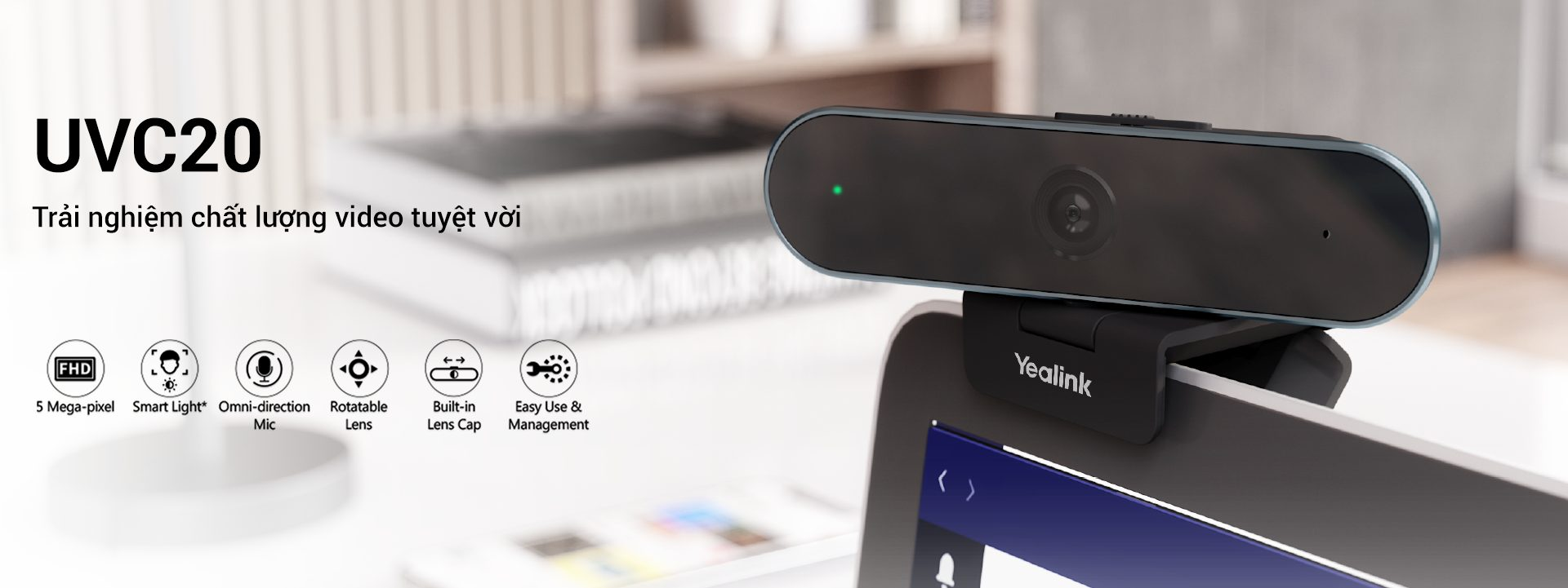 Camera UVC20 - Thiết bị họp trực tuyến Yealink